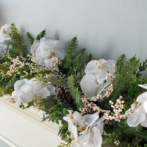 6' Glistening Iced Orchid and Pine Garland